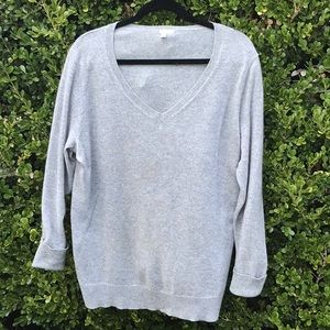 Halogen heather gray cashmere V neck sweater.